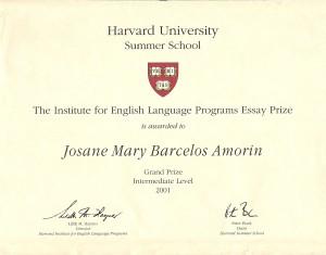 Harvard Essay Prize Summer School 2001